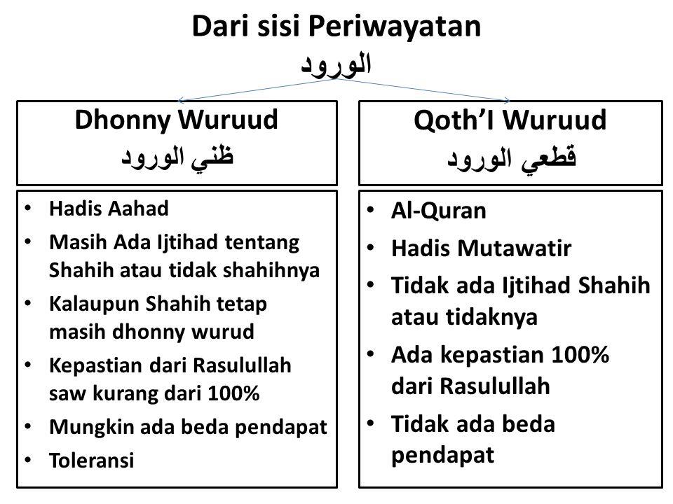 Dari sisi Periwayatan الورود Hadis Aahad Masih Ada Ijtihad tentang Shahih atau tidak shahihnya Kalaupun Shahih tetap masih dhonny wurud Kepastian dari