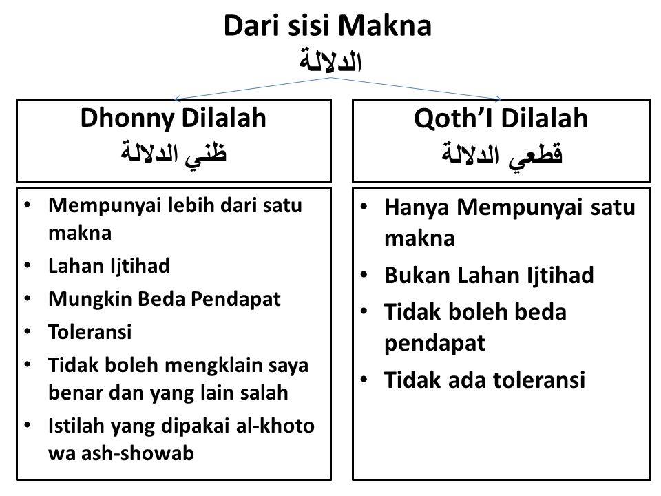 Dari sisi Makna الدلالة Mempunyai lebih dari satu makna Lahan Ijtihad Mungkin Beda Pendapat Toleransi Tidak boleh mengklain saya benar dan yang lain s