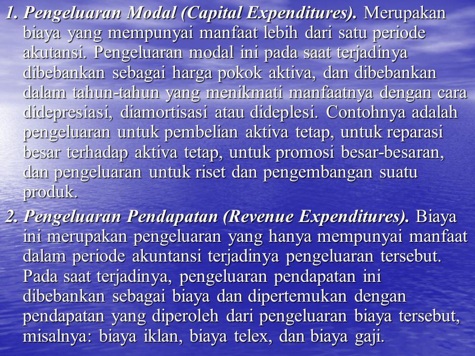 1. Pengeluaran Modal (Capital Expenditures). Merupakan biaya yang mempunyai manfaat lebih dari satu periode akutansi. Pengeluaran modal ini pada saat