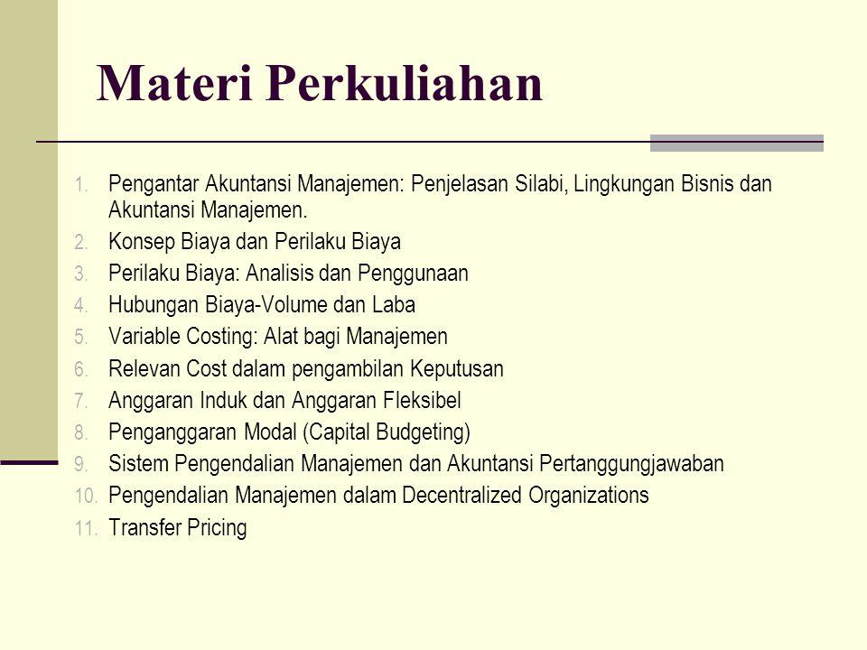 Materi Perkuliahan 1. Pengantar Akuntansi Manajemen: Penjelasan Silabi, Lingkungan Bisnis dan Akuntansi Manajemen. 2. Konsep Biaya dan Perilaku Biaya