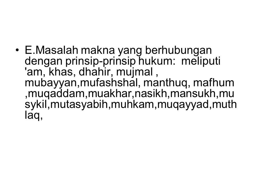 F.Masalah makna yang berhubungan dengan lafadz: meliputi fashal, washal, ijaz (singkat), ithnab (panjang), musawah (sama), qasr.