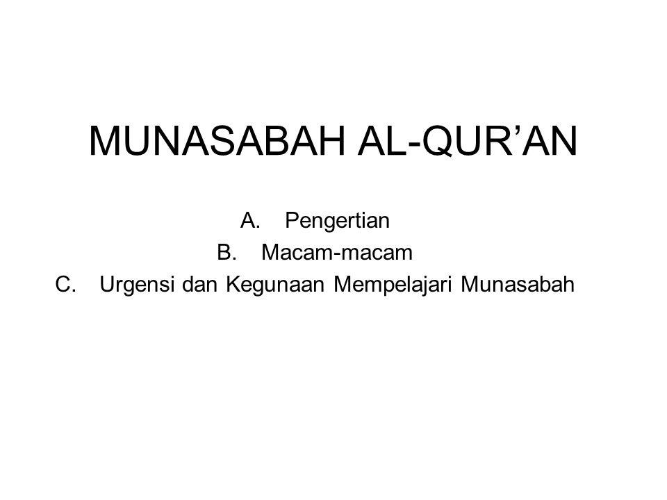 MUNASABAH AL-QUR'AN A.Pengertian B.Macam-macam C.Urgensi dan Kegunaan Mempelajari Munasabah