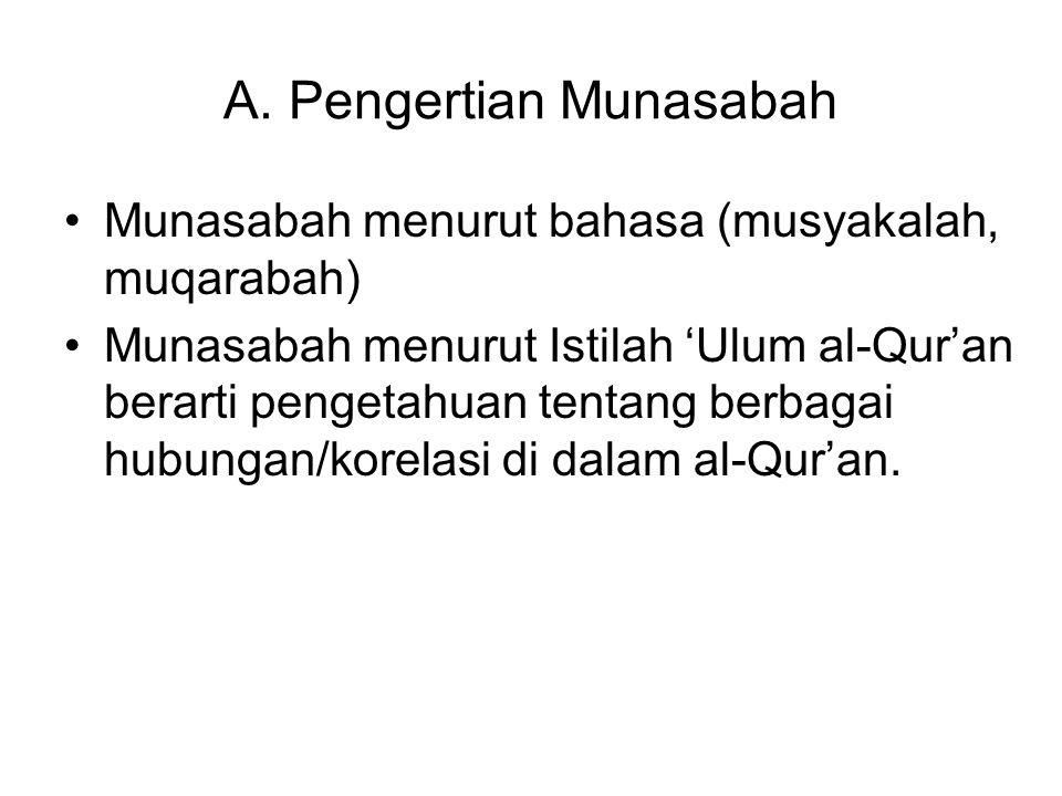 A. Pengertian Munasabah Munasabah menurut bahasa (musyakalah, muqarabah) Munasabah menurut Istilah 'Ulum al-Qur'an berarti pengetahuan tentang berbaga