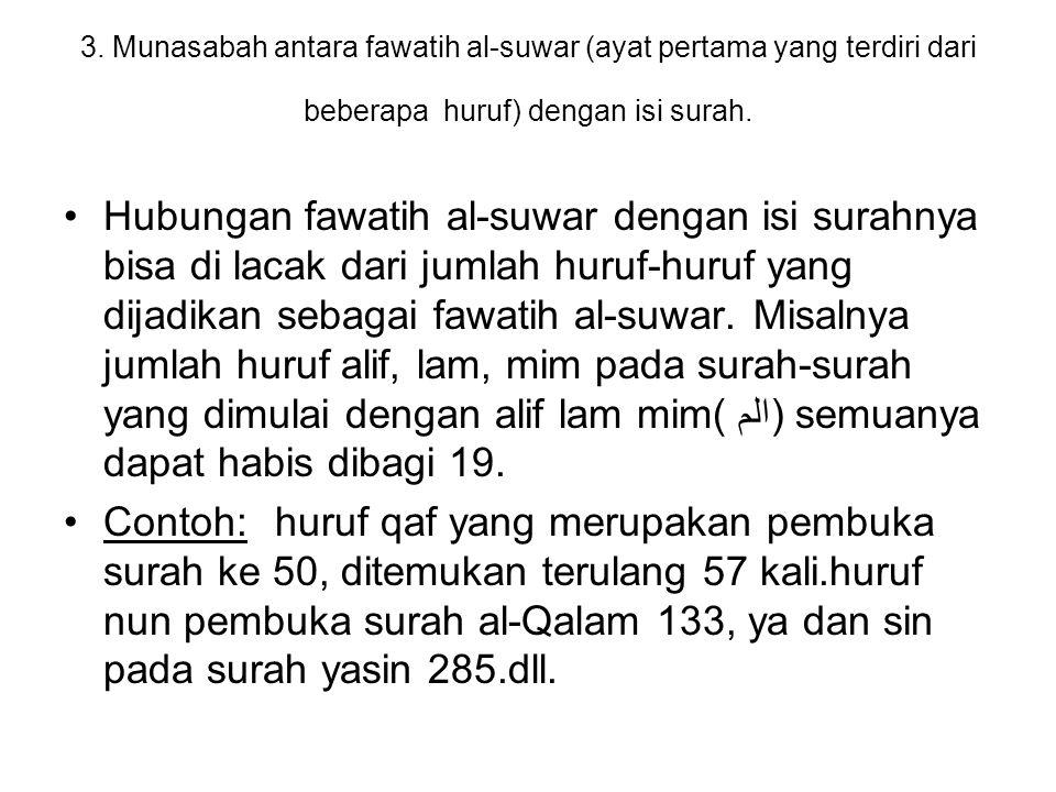3. Munasabah antara fawatih al-suwar (ayat pertama yang terdiri dari beberapa huruf) dengan isi surah. Hubungan fawatih al-suwar dengan isi surahnya b