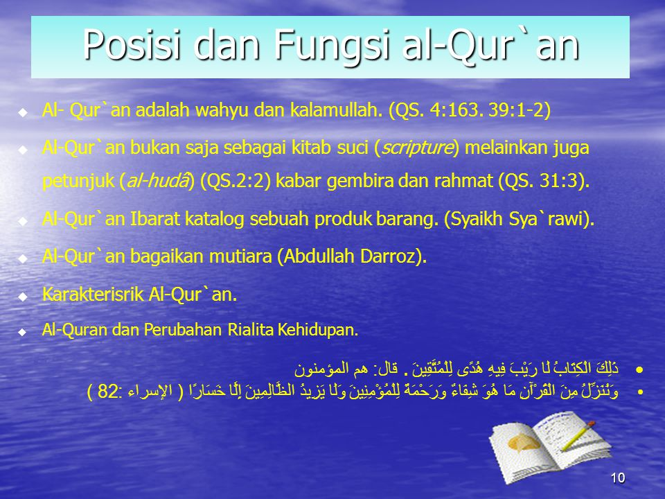 Dalam Al-Qur'an sendiri terdapat beberapa ayat yang menyertakan nama lain yang digunakan untuk merujuk kepada Al-Qur'an itu sendiri. Berikut adalah na