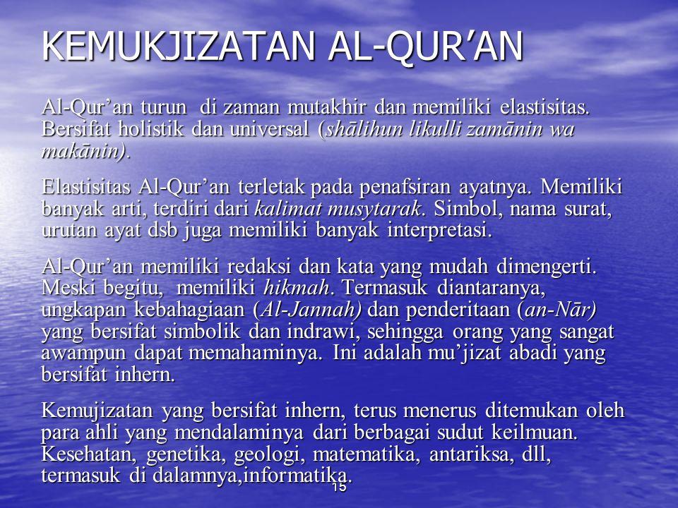 KODIFIKASI AL-QUR'AN (3) 2. Pada Masa Usman bin Affan: a. Latar Belakang: Perbedaan dialek bacaan (fatabayyanu dan fatastabbatu (Q.S. al-Hujurat: 6).