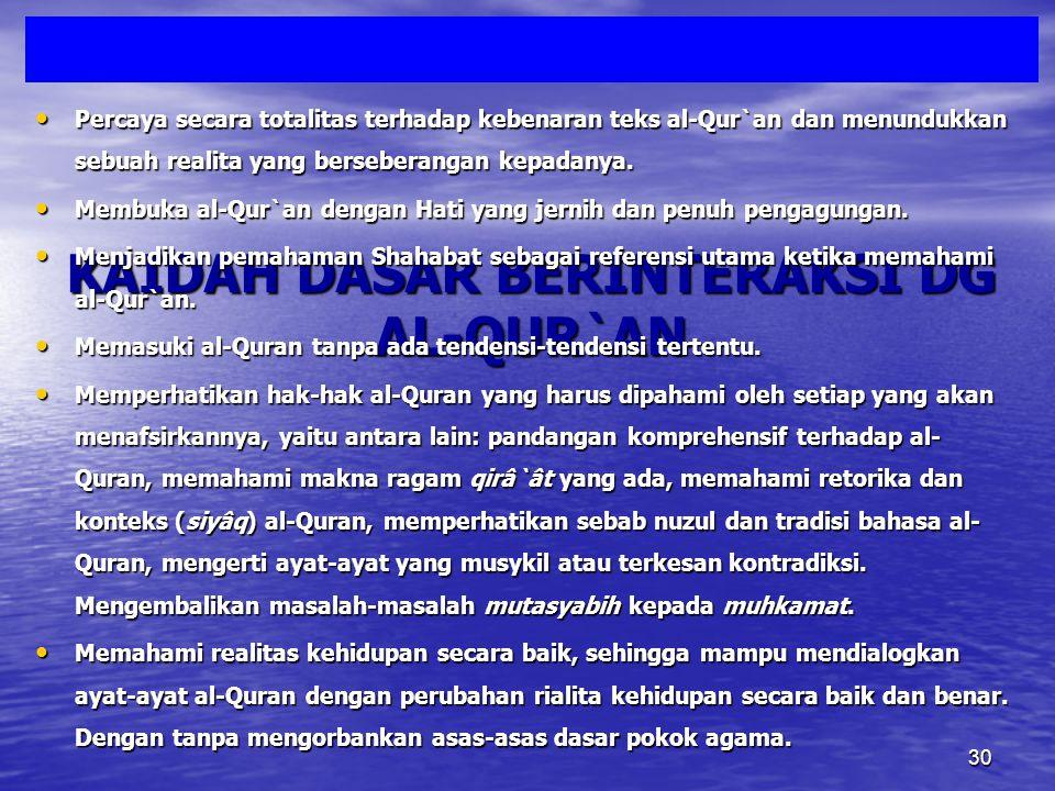 Mengamalkan Al-Qur`an Sesuai Salaf Sesuai Kemampuan Paham Fikih da`wah Paham fikih ikhtilaf No Ifroth wa Tafrith Ikhlas BERNILAILEBIHBERNILAILEBIH