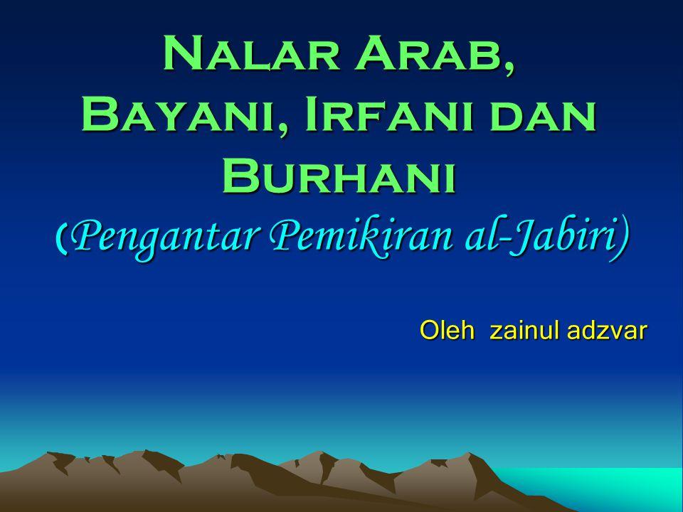 Nalar Arab, Bayani, Irfani dan Burhani (Pengantar Pemikiran al-Jabiri) Oleh zainul adzvar