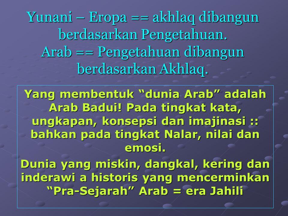 """Yunani – Eropa == akhlaq dibangun berdasarkan Pengetahuan. Arab == Pengetahuan dibangun berdasarkan Akhlaq. Yang membentuk """"dunia Arab"""" adalah Arab Ba"""