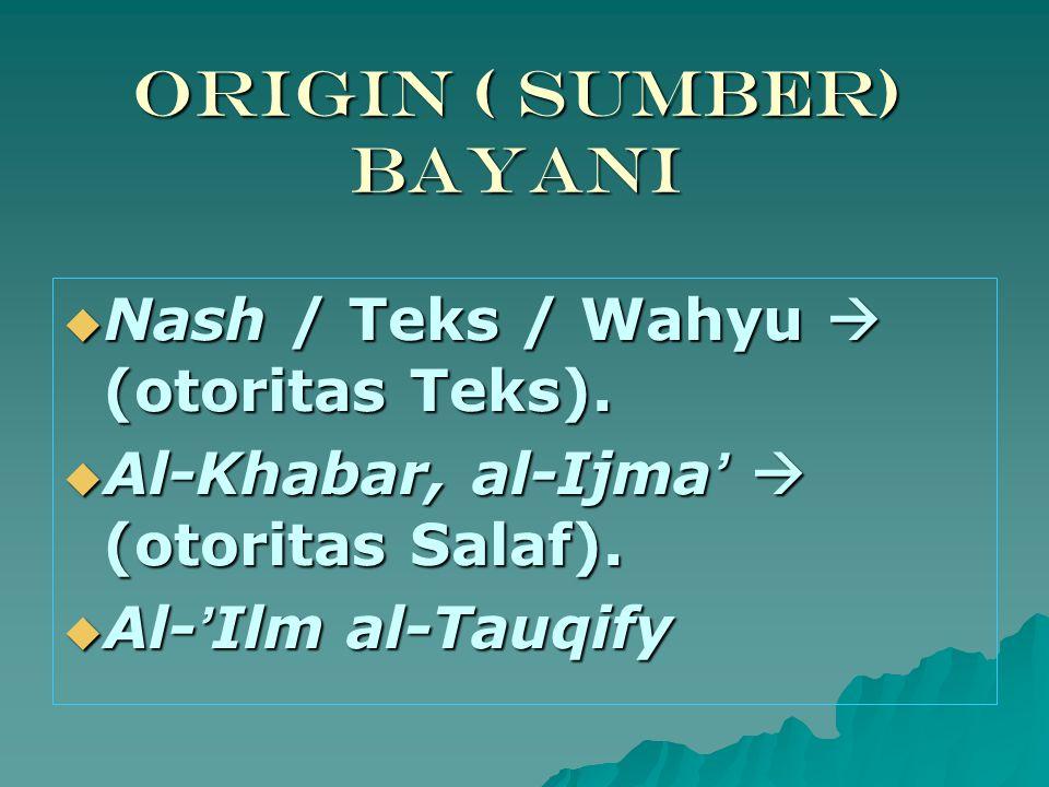 Origin ( Sumber) Bayani  Nash / Teks / Wahyu  (otoritas Teks).  Al-Khabar, al-Ijma '  (otoritas Salaf).  Al- ' Ilm al-Tauqify