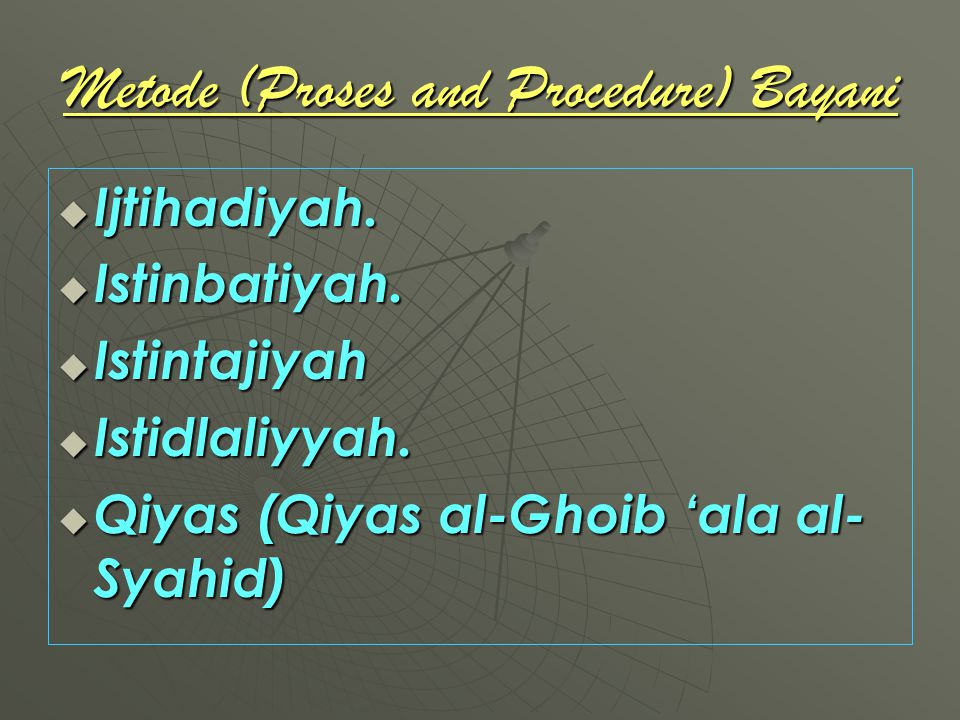 Metode (Proses and Procedure) Bayani IIIIjtihadiyah. IIIIstinbatiyah. IIIIstintajiyah IIIIstidlaliyyah. QQQQiyas (Qiyas al-Ghoib '