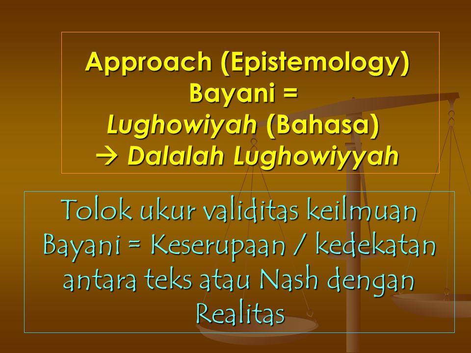 Approach (Epistemology) Bayani = Lughowiyah (Bahasa)  Dalalah Lughowiyyah Tolok ukur validitas keilmuan Bayani = Keserupaan / kedekatan antara teks a