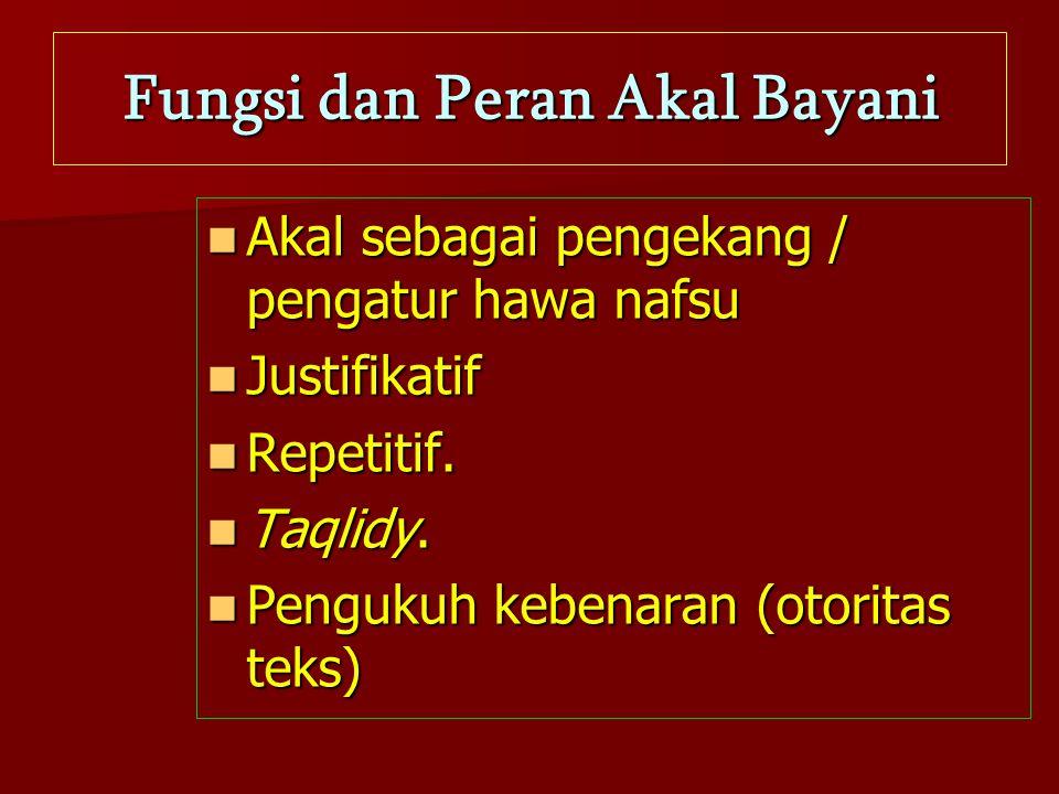 Fungsi dan Peran Akal Bayani Akal sebagai pengekang / pengatur hawa nafsu Justifikatif Repetitif. Taqlidy. Pengukuh kebenaran (otoritas teks)