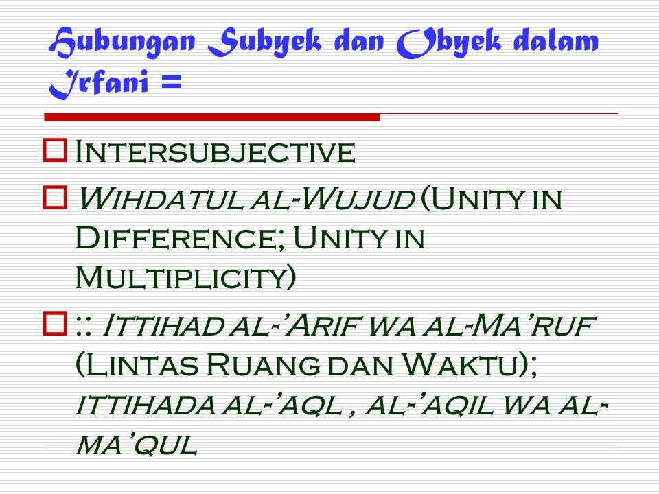 Hubungan Subyek dan Obyek dalam Irfani =  Intersubjective  Wihdatul al-Wujud (Unity in Difference; Unity in Multiplicity)  :: Ittihad al-'Arif wa a