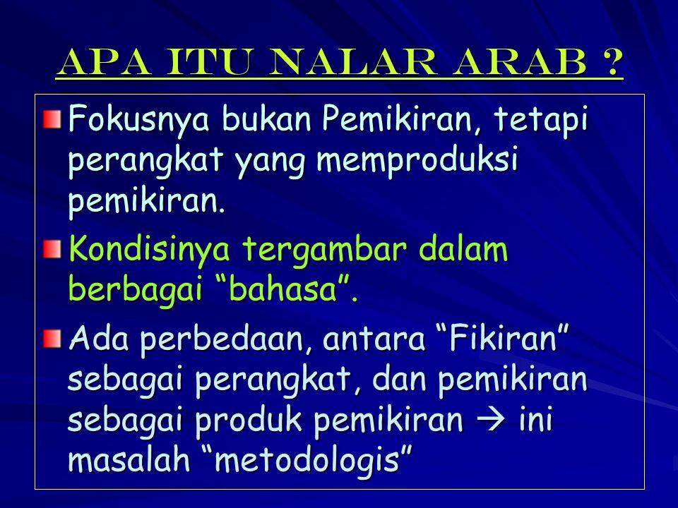 """Apa itu Nalar Arab ? Fokusnya bukan Pemikiran, tetapi perangkat yang memproduksi pemikiran. Kondisinya tergambar dalam berbagai """"bahasa"""". Ada perbedaa"""