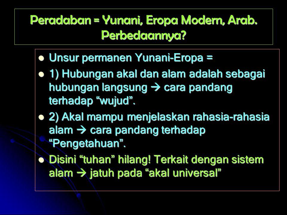 Peradaban = Yunani, Eropa Modern, Arab. Perbedaannya? Unsur permanen Yunani-Eropa = Unsur permanen Yunani-Eropa = 1) Hubungan akal dan alam adalah seb