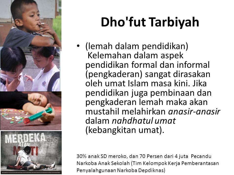 Dho'fut Tarbiyah (lemah dalam pendidikan) Kelemahan dalam aspek pendidikan formal dan informal (pengkaderan) sangat dirasakan oleh umat Islam masa kin
