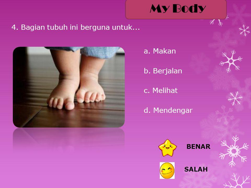 4.Bagian tubuh ini berguna untuk... a. Makan b. Berjalan c.