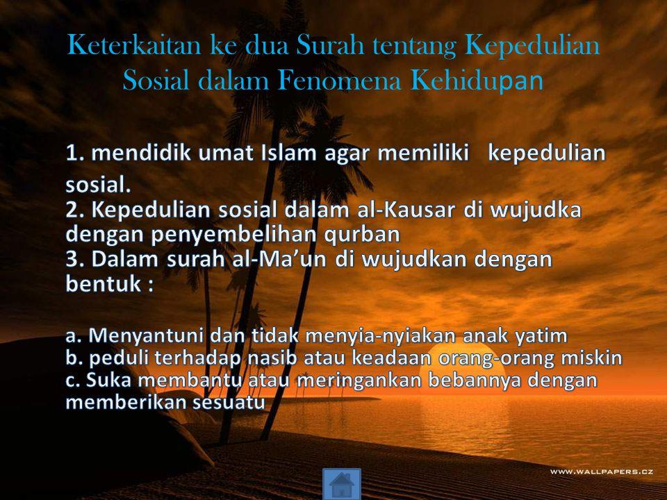 Kandungan ayat Ayat 1 Allah menanyakan tentang orang mendustakan agama Ayat 2&3 menjelaskan orang-orang yang mendustakan agama.