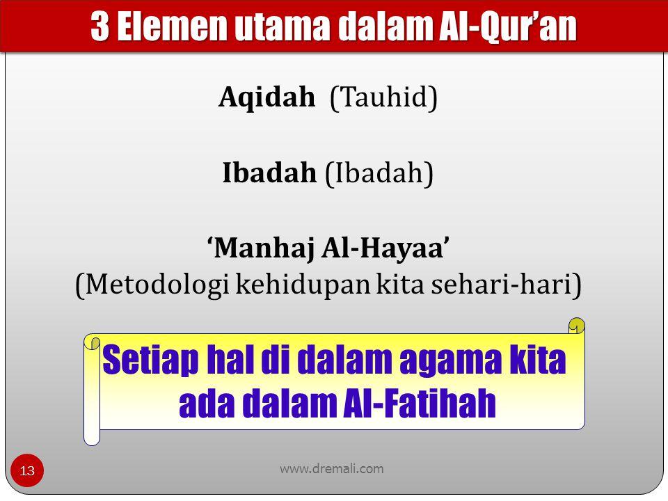www.dremali.com Aqidah (Tauhid) Ibadah (Ibadah) 'Manhaj Al-Hayaa' (Metodologi kehidupan kita sehari-hari) Setiap hal di dalam agama kita ada dalam Al-
