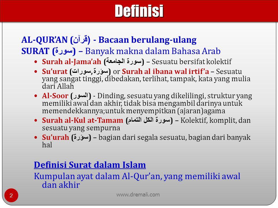 AYAH (tunggal) - AYAT (jamak) www.dremali.com AYAH berasal dari AYAYAH ( آيياه ) - Tanda, ajaib, unik Siapapun yang membawanya adalah yang membawa kebenaran Satu-satunya yang menyatakan kebenaran ( الصدق ) Ayat Al-Jama'at ( الجماعات ) - Perjalanan, kelompok- kelompok Kumpulan Ayat membentuk Surat Bagian yang diambil dari keseluruhan Definisi Ayat dalam Islam Bagian dari perkataan Allah, yang memiliki awal dan akhir.