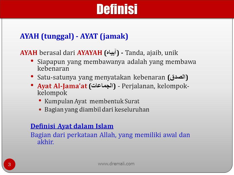 AYAH (tunggal) - AYAT (jamak) www.dremali.com AYAH berasal dari AYAYAH ( آيياه ) - Tanda, ajaib, unik Siapapun yang membawanya adalah yang membawa keb