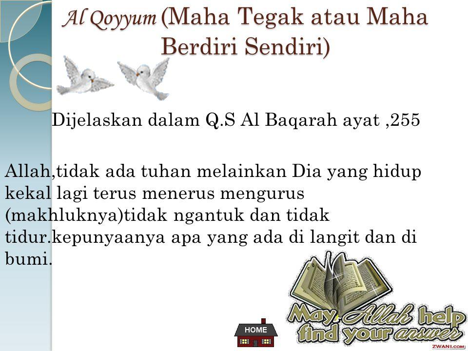 Al Qoyyum (Maha Tegak atau Maha Berdiri Sendiri) Dijelaskan dalam Q.S Al Baqarah ayat,255 Allah,tidak ada tuhan melainkan Dia yang hidup kekal lagi terus menerus mengurus (makhluknya)tidak ngantuk dan tidak tidur.kepunyaanya apa yang ada di langit dan di bumi.