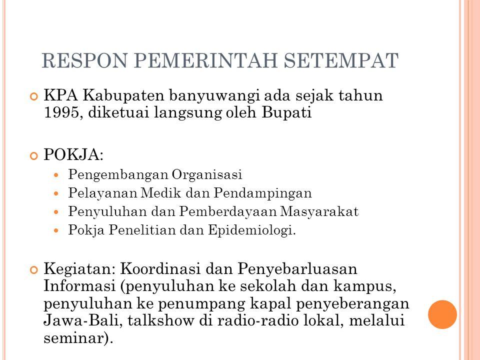 Penyebarluasan informasi melalui Media KIE dengan bahasa osing (bahasa suku asli Banyuwangi) Lintas Sektor  Sosialisasi dan advokasi kepada para tokoh agama (Majelis Ulama Indonesia /MUI, para Da'i, dan tokoh masyarakat Himbauan dan Informasi untuk pencegahan HIV dan AIDS juga dilakukan melalui media lokal, antara lain: Radar (Jawa Post), Koran Sindo, Koran PKB, dan 15 radio swasta yang ada di Kabupaten banyuwangi Tahun 2006 penyediaan ATM kondom yang ditempatkan di beberapa lokalisasi.