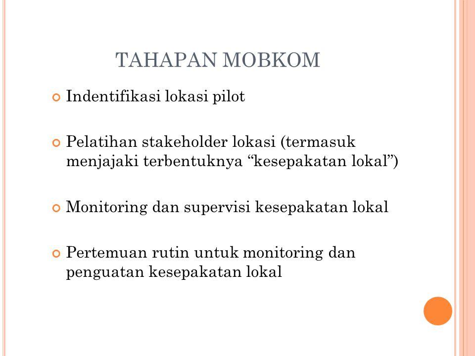 """TAHAPAN MOBKOM Indentifikasi lokasi pilot Pelatihan stakeholder lokasi (termasuk menjajaki terbentuknya """"kesepakatan lokal"""") Monitoring dan supervisi"""