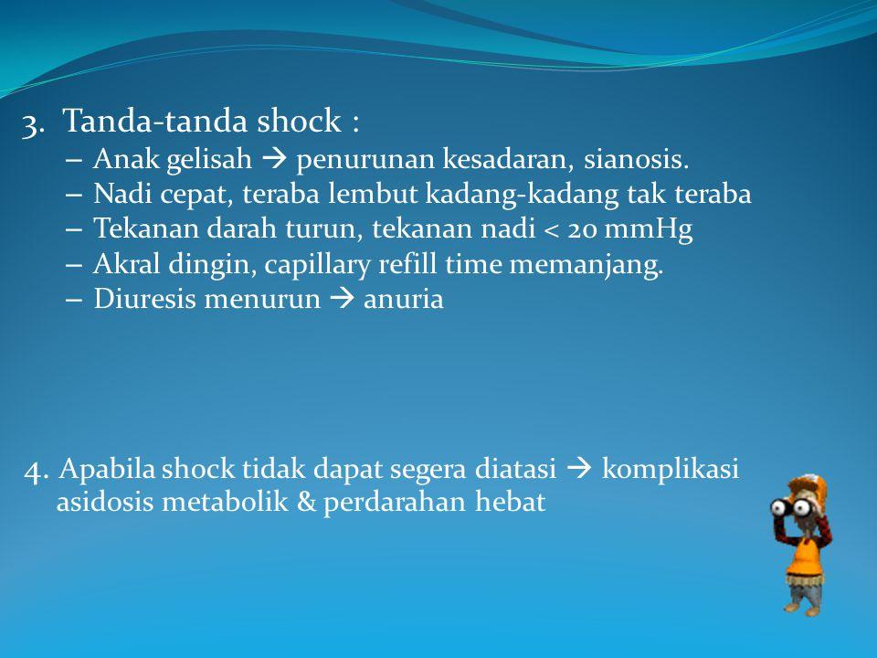 3. Tanda-tanda shock : – Anak gelisah  penurunan kesadaran, sianosis. – Nadi cepat, teraba lembut kadang-kadang tak teraba – Tekanan darah turun, tek