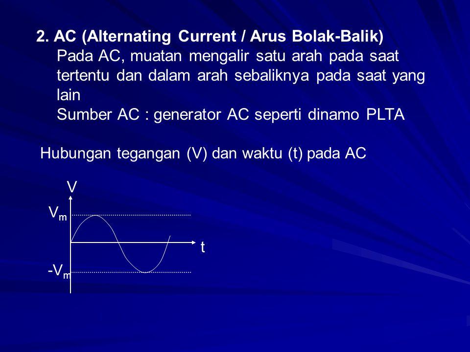 2. AC (Alternating Current / Arus Bolak-Balik) Pada AC, muatan mengalir satu arah pada saat tertentu dan dalam arah sebaliknya pada saat yang lain Sum