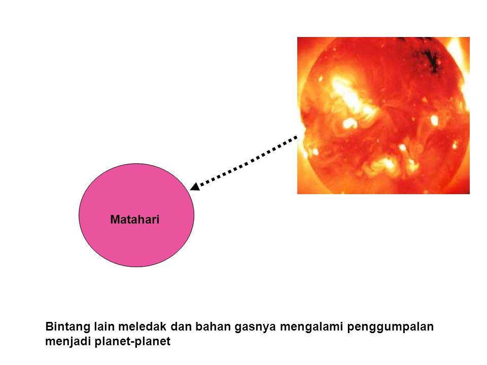 MTHR Matahari Bintang lain meledak dan bahan gasnya mengalami penggumpalan menjadi planet-planet