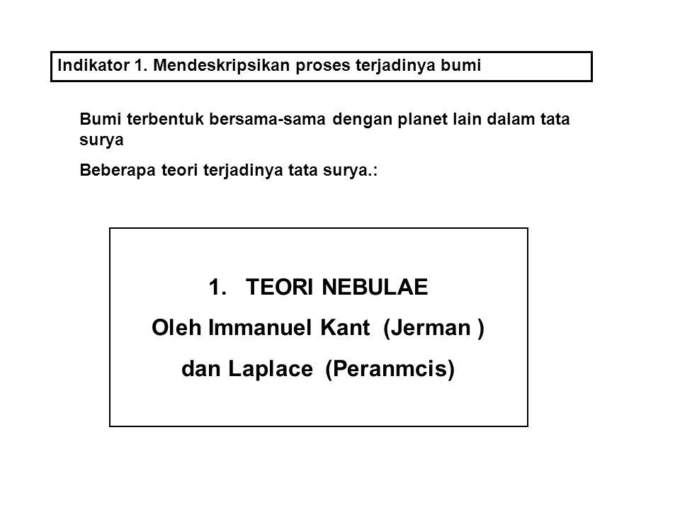 1.TEORI NEBULAE Oleh Immanuel Kant (Jerman ) dan Laplace (Peranmcis) Indikator 1.
