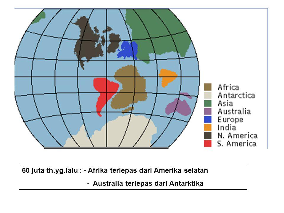 60 juta th.yg.lalu : - Afrika terlepas dari Amerika selatan - Australia terlepas dari Antarktika