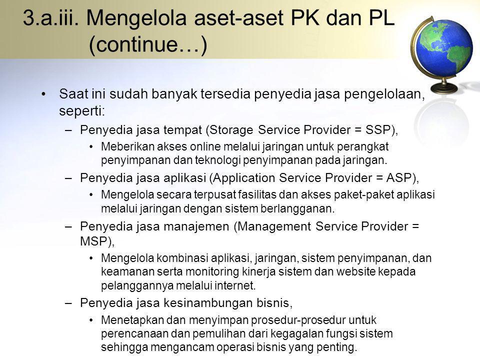 3.a.iii. Mengelola aset-aset PK dan PL (continue…) Saat ini sudah banyak tersedia penyedia jasa pengelolaan, seperti: –Penyedia jasa tempat (Storage S