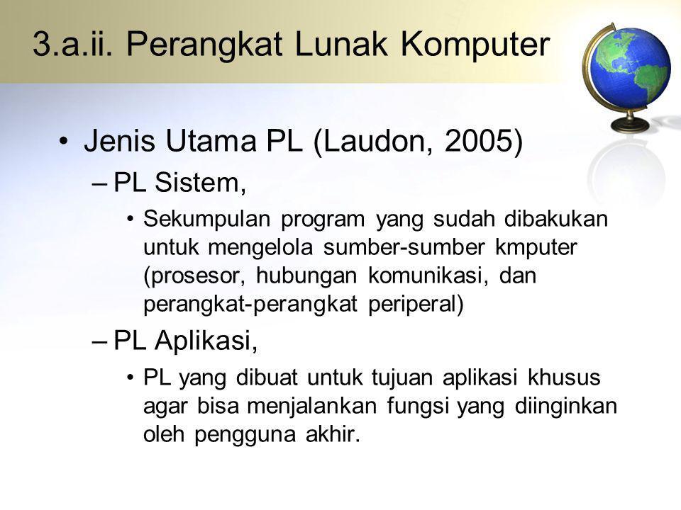 3.a.ii. Perangkat Lunak Komputer Jenis Utama PL (Laudon, 2005) –PL Sistem, Sekumpulan program yang sudah dibakukan untuk mengelola sumber-sumber kmput
