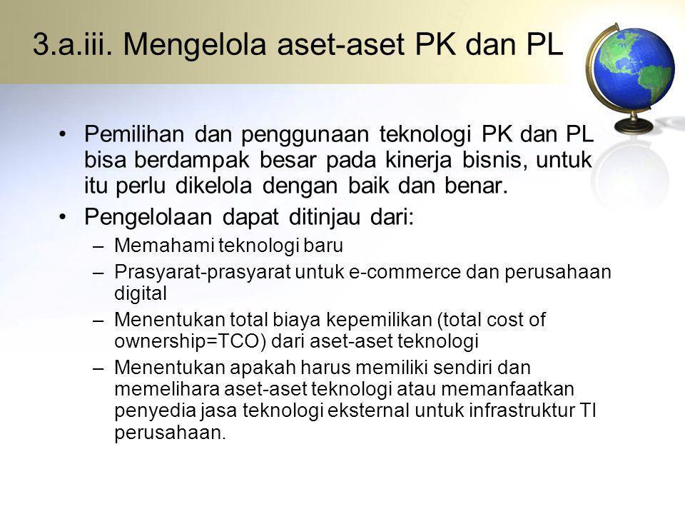 3.a.iii. Mengelola aset-aset PK dan PL Pemilihan dan penggunaan teknologi PK dan PL bisa berdampak besar pada kinerja bisnis, untuk itu perlu dikelola