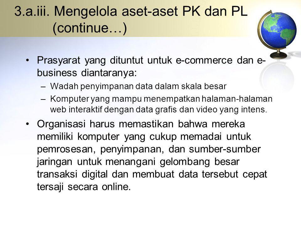 3.a.iii. Mengelola aset-aset PK dan PL (continue…) Prasyarat yang dituntut untuk e-commerce dan e- business diantaranya: –Wadah penyimpanan data dalam