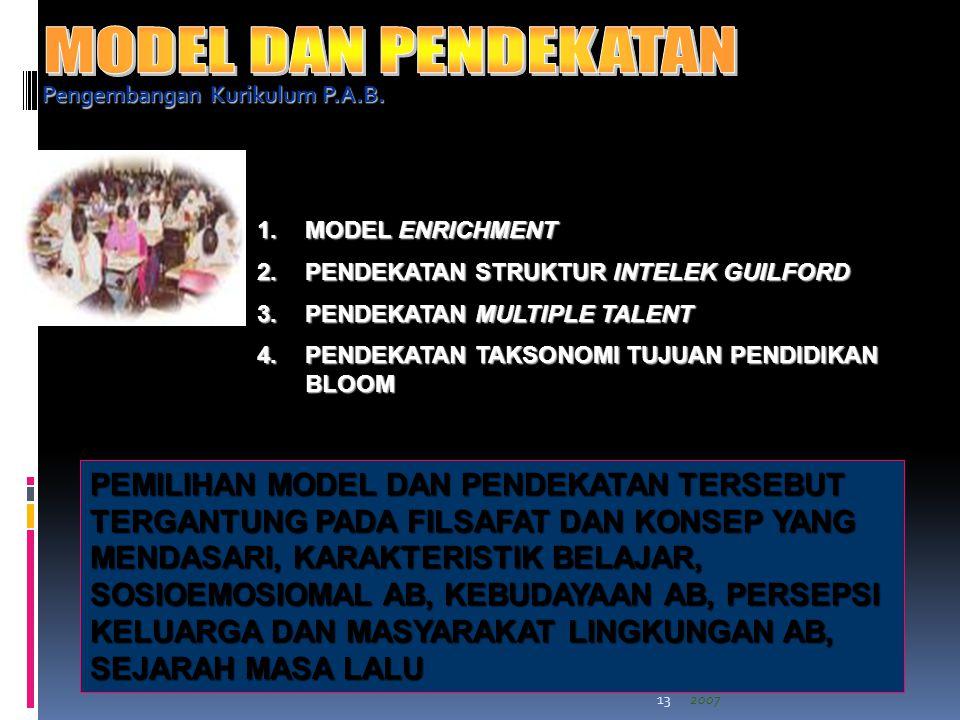 Landasan Filosofis dan Alternatif Model Pendidikan Bagi Anak CI- BI, Ravik Karsidi, 29 Desember 200713 Pengembangan Kurikulum P.A.B.