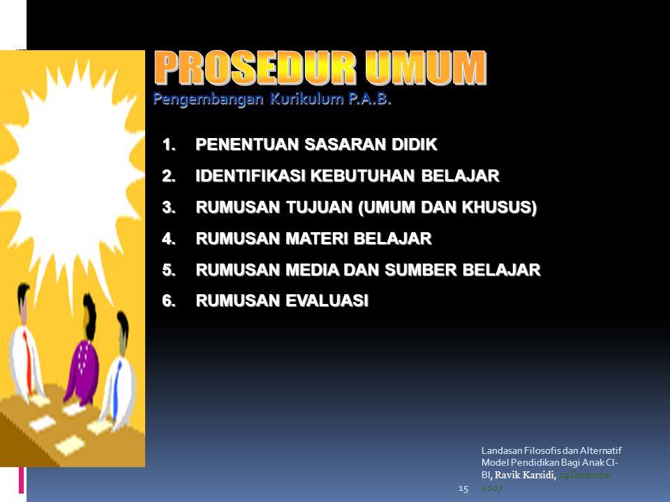 Landasan Filosofis dan Alternatif Model Pendidikan Bagi Anak CI- BI, Ravik Karsidi, 29 Desember 200715 Pengembangan Kurikulum P.A.B.