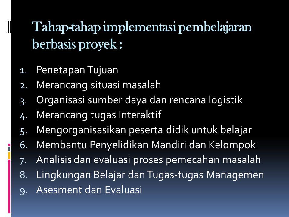 Tahap-tahap implementasi pembelajaran berbasis proyek : 1.
