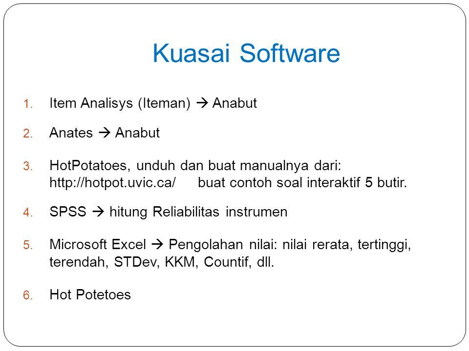 Kuasai Software 1. Item Analisys (Iteman)  Anabut 2. Anates  Anabut 3. HotPotatoes, unduh dan buat manualnya dari: http://hotpot.uvic.ca/ buat conto