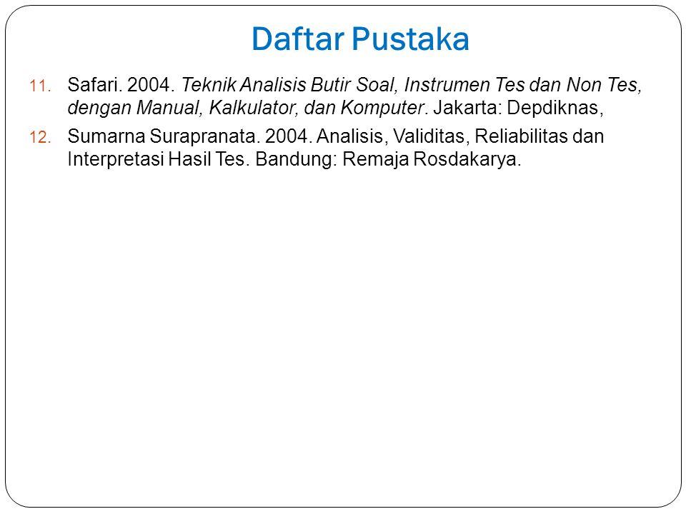 Daftar Pustaka 11. Safari. 2004. Teknik Analisis Butir Soal, Instrumen Tes dan Non Tes, dengan Manual, Kalkulator, dan Komputer. Jakarta: Depdiknas, 1
