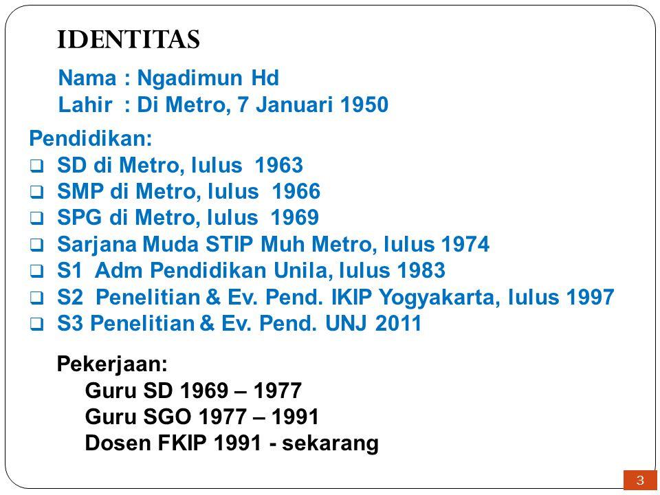 3 IDENTITAS Nama: Ngadimun Hd Lahir: Di Metro, 7 Januari 1950 Pendidikan:  SD di Metro, lulus 1963  SMP di Metro, lulus 1966  SPG di Metro, lulus 1