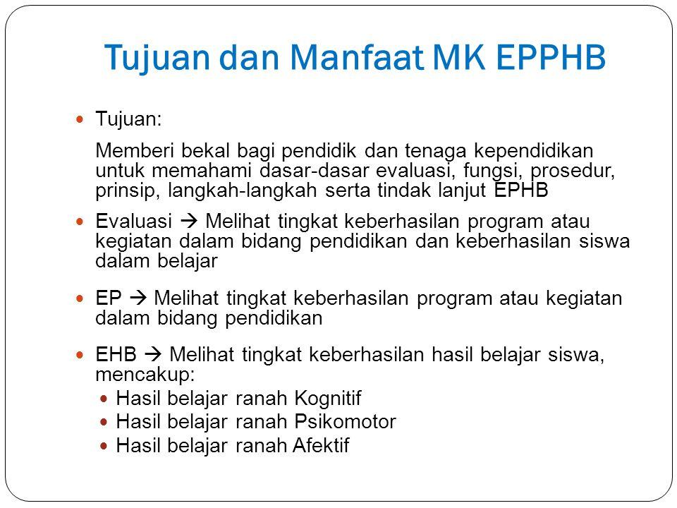 Tujuan dan Manfaat MK EPPHB Tujuan: Memberi bekal bagi pendidik dan tenaga kependidikan untuk memahami dasar-dasar evaluasi, fungsi, prosedur, prinsip
