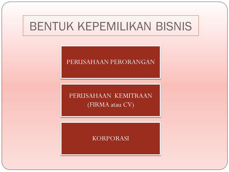PERUSAHAAN PERORANGAN PERUSAHAAN KEMITRAAN (FIRMA atau CV) KORPORASI