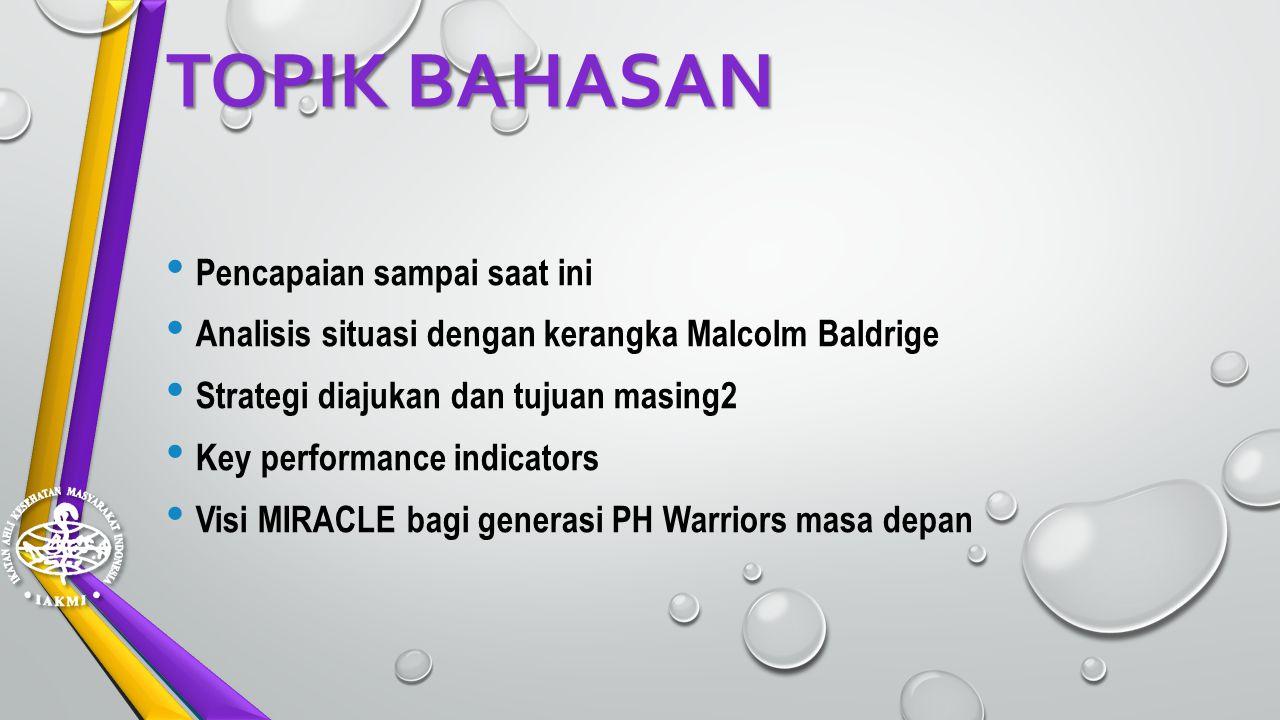 TOPIK BAHASAN Pencapaian sampai saat ini Analisis situasi dengan kerangka Malcolm Baldrige Strategi diajukan dan tujuan masing2 Key performance indicators Visi MIRACLE bagi generasi PH Warriors masa depan