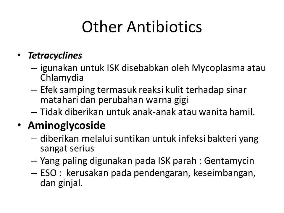 Other Antibiotics Tetracyclines – igunakan untuk ISK disebabkan oleh Mycoplasma atau Chlamydia – Efek samping termasuk reaksi kulit terhadap sinar matahari dan perubahan warna gigi – Tidak diberikan untuk anak-anak atau wanita hamil.