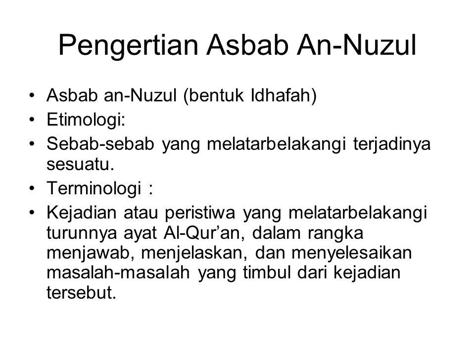 Pengertian Asbab An-Nuzul Asbab an-Nuzul (bentuk Idhafah) Etimologi: Sebab-sebab yang melatarbelakangi terjadinya sesuatu. Terminologi : Kejadian atau