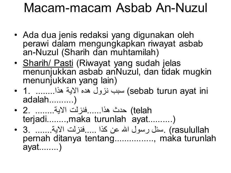 Macam-macam Asbab An-Nuzul Ada dua jenis redaksi yang digunakan oleh perawi dalam mengungkapkan riwayat asbab an-Nuzul (Sharih dan muhtamilah) Sharih/